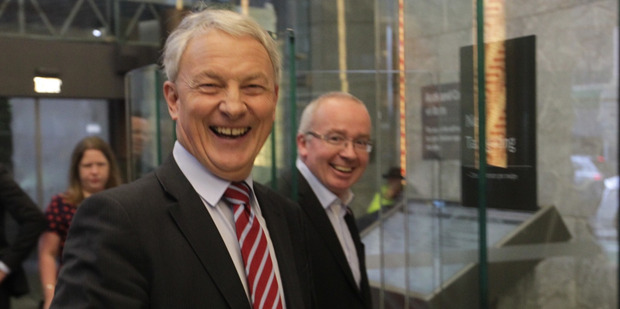 Phil Goff swipes into the Auckland Council building on his first day of work today. Photo / Nick Reed