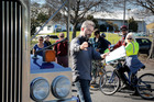 Julian Hulls shows Whanganui cyclists how much drivers ca see from a truck. PHOTO/ BEVAN CONLEY