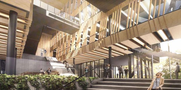 The  design features two buildings joined by a central atrium and walkway space to create a campus feel. Image/Supplied