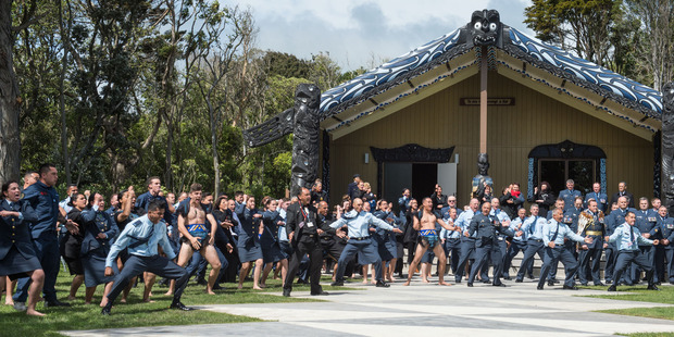 Air Force personnel performed a stirring haka at the opening of Ohakea's marae. Photo/Brad Hanson.
