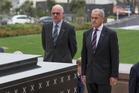 Norbert Lammert, left, and  David Carter in Wellington today. Photo / Mark Mitchell