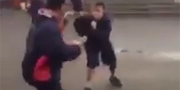 Loading Two pupils of Rosehill College in Auckland have a fight in front of teacher. Photo / Supplied