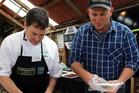 Chef Scott Kennedy, left, and Coastal Spring Lamb founder Richard Redmayne. PHOTO/STUART MUNRO