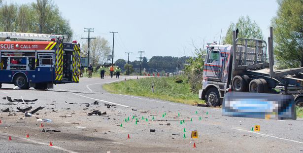 General view of the scene of the fatal truck crash. Photo / Alan Gibson