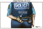 Crime fighting, NZ style - one hand tied behind the back. Illustration / Rod Emmerson