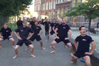 Members of the Njord Royal Dutch Rowing Club perform a haka, led by Justus Hamann, in the university town of Leiden in South Holland. Photo / Supplied
