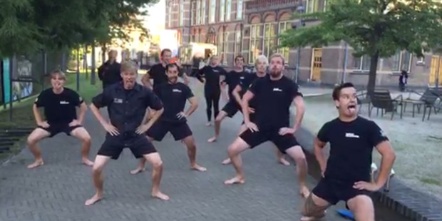 Loading Members of the Njord Royal Dutch Rowing Club perform a haka, led by Justus Hamann, in the university town of Leiden in South Holland. Photo / Supplied