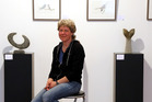 Simone Jacquat at Fine Arts Whanganui gallery with some of her work. PHOTO/STUART MUNRO