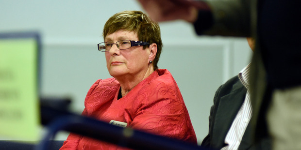 Bev Edlin in happier times at an election meeting in Matua Hall last month.  Photo/George Novak