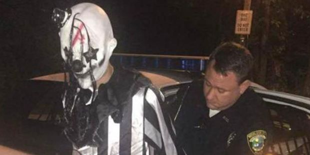 A creepy clown is arrested in Kentucky. Photo / Sourced