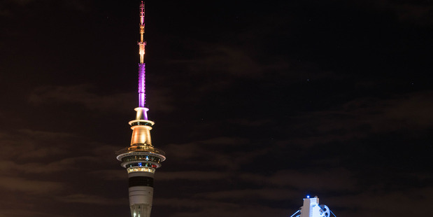Loading In celebration of the Auckland Diwali Festival, the Sky Tower will light in a vibrant display of pink, yellow and orange this weekend. Photo / Supplied