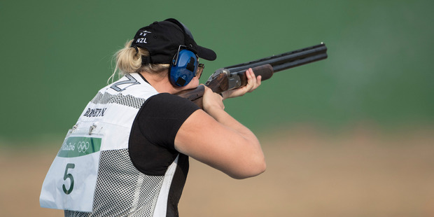 Natalie Rooney picks up New Zealand's first medal of the Rio games after winning Silver in the womens trap shooting. Photo / Photosport.co.nz