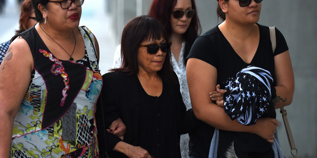 Merzabeth Tagpuno (centre), the mother of New Zealand woman Warrienna Wright, arrives at the Supreme Court in Brisbane earlier this week. Photo / AP