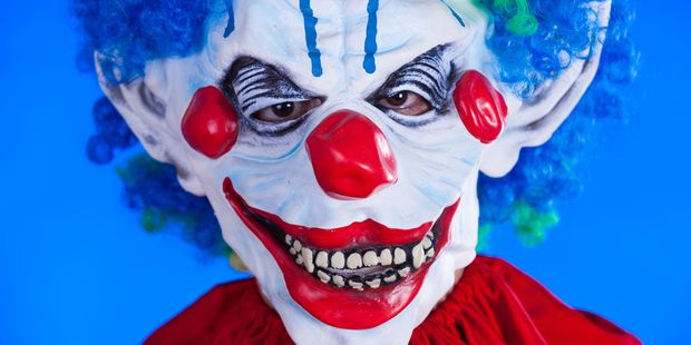 A creepy clown was spotted peering out from behind a shelf at the University of Auckland. Photo / File