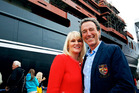 Graeme Hart and Robyn Hart at the launch of their yacht Ulysses in Norway.