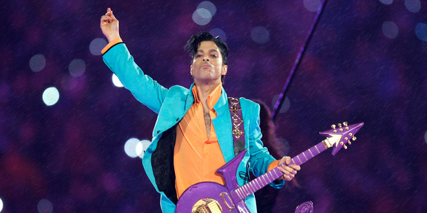 Prince performing during the halftime show at the Super Bowl XLI football game, 2007. Photo / AP