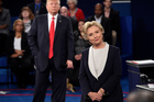 Donald Trump and Hillary Clinton battle it out in the second 2016 presidential debate. Photo / AP