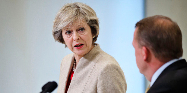 'Submarine May' is how Oliver describes the now Prime Minister as she took a long time to decide on which way to lean. Photo / AP