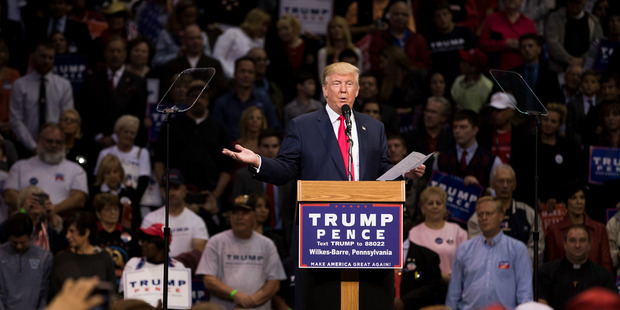 Donald Trump delivers remarks during a rally at Mohegan Sun Arena. Photo / AP