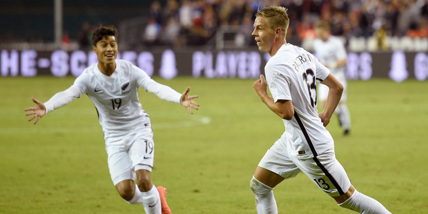 Loading New Zealand forward Monty Patterson celebrates his goal with Moses Dyer. Photo / AP