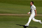 Neil Wagner celebrates after bowling South Africa's batsman Vernon Philander. Photo / AP