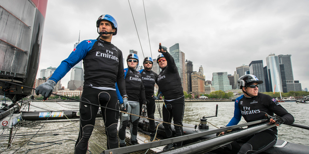 Ray Davies points towards a mark before the third and final attempt at starting a race during the first official day of competition at the Louis Vuitton America's Cup World Series. Photo / File.
