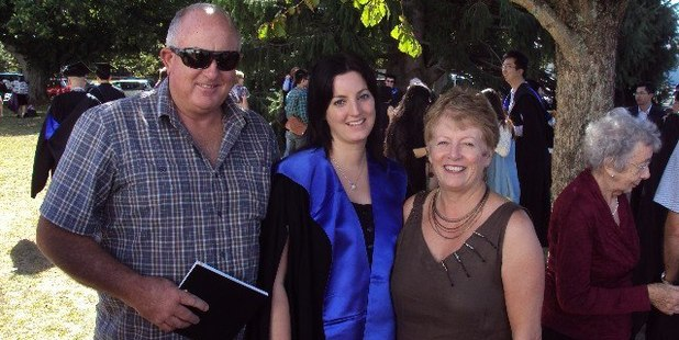 Keith Bremner, left, is an a critical condition in Waikato hospital after a stabbing in Otorohanga. He is pictured here with daughter Loren, and wife Clare, who was killed in the attack.