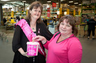 Pink Ribbon Street Appeal collector Chris Govan (left) and donor Angela Drummond at Pak'nSave supermarket last year. Photo/file