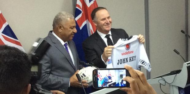 Prime Minister John Key and Fijian Prime Minister Frank Bainimarama in Fiji in September. Photo / Claire Trevett