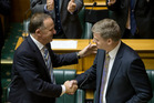 Finance Minister Bill English is congratulated by Prime Minister John Key after Budget 2015. PHOTO/ Mark Mitchell