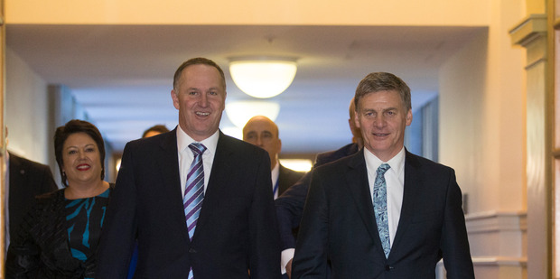 Finance Minister Bill English and Prime Minister John Key on the way to deliver Budget 2016. PHOTO/Mark Mitchell