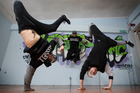 World champion break dancers, The Bradas dance crew members Riley Bourne, Nathan Kara and Connor Muller. Photo / Nick Reed