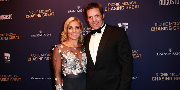 Richie McCaw with his fiancee Gemma Flynn at the Chasing Great film premiere in Auckland. Photo / Norrie Montgomery