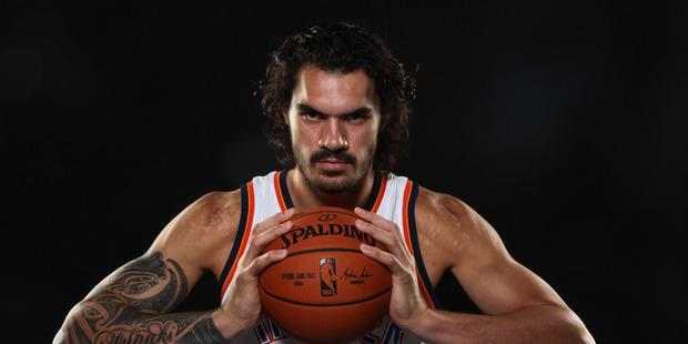 Steven Adams #12 of the Oklahoma City Thunder poses for a portrait during 2015 NBA Media Day. Photo / Getty Images.