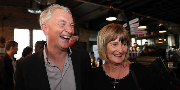 Auckland's new mayor Phil Goff with his wife Mary at the Sweat Shop Brew Bar. Photo / Getty Images