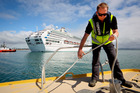 Launchmaster Paul Jenssen on the pilot boat as the Sun Princess arrives in Napier Port. 10 October 2016. Hawke's Bay Today photograph by Warren Buckland