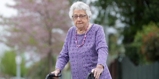 Betty Codlin, 92, victim of a daylight robbery near her Hastings. Photo by Duncan Brown.