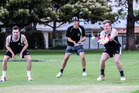Liam Dudding (left), captain Angus Schaw and Matt Edmondson train for the annual three-day CD inter-district one-day Chapple Cup tournament at Nelson Park, Napier. PHOTO/Paul Taylor