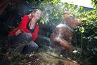Kristin Kay with her winning sculpture Minotaur. PHOTO/MICHAEL CUNNINGHAM
