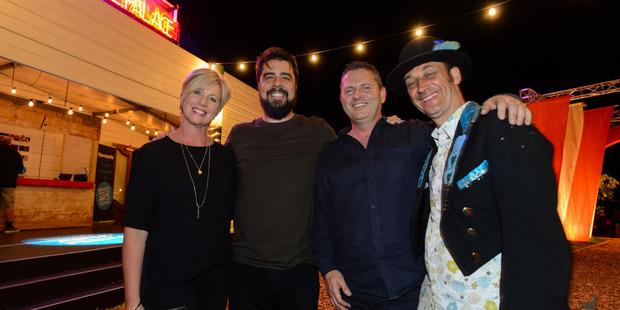 Joanne Wilson (left), Ben Hurley, Harcourts Hawke's Bay managing director Kaine Wilson and festival director Pitsch Leiser. Photo / Tim Whittaker