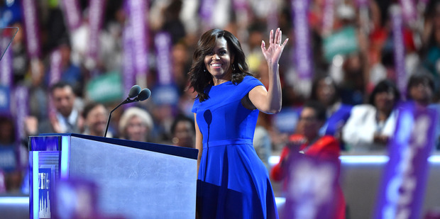 First Lady Michelle Obama addresses the Democratic National Convention in Philadelphia. Photo / The Washington Post