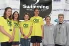 Otumoetai swimmers L to R: Ella Hoskin, Ruby Matthews, Matthew Wagstaff, Tristan Eiselen, George Culling and Daniel Shanahan.