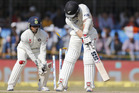 Luke Ronchi is bowled during the fourth day of the third test cricket match between India and New Zealand. Photo / AP