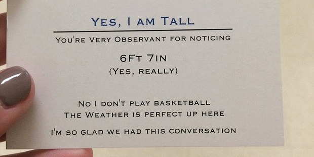 A teen has a cheeky solution to questions he receives about his height. Photo / Twitter