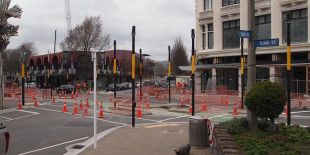 18 traffic light poles have been erected at the intersection of High and Tuam Sts in Christchurch. Photo / Facebook