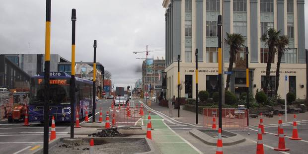 Traffic light madness in Christchurch with 18 traffic light poles having been erected over the past 18 months. Photo / Facebook