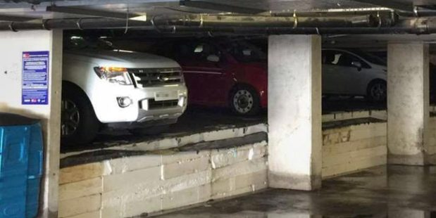 The polystyrene insulation under the carpark floor appeared to swell, forcing them upwards. Photo / Sadia Farzana Chitra/Twitter