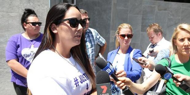 Cindy Palmer, mother of alleged murder victim Tiahleigh Palmer, at Beenleigh Court House. Photo / News Corp Australia