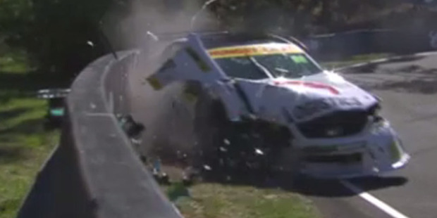 Loading A 17-year-old rookie race car driver could be slapped with a $100,000 bill after his bid to conquer Mount Panorama ended with him slamming into concrete wall. Photo / YouTube.