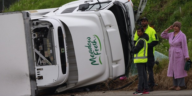 Loading A milk truck carrying more than 100 crates collided with a car near Middlemore Hospital. Photo / Nick Reed